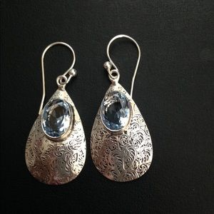 Jewelry - Tanzanite Quartz Gemstone Earrings. Silver.